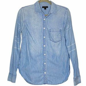 J. Crew Button Up Casual Shirt Top Chambray Blue